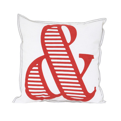 printed cushion white/red