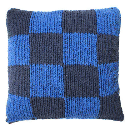 handknitted cushion (dark)blue squares