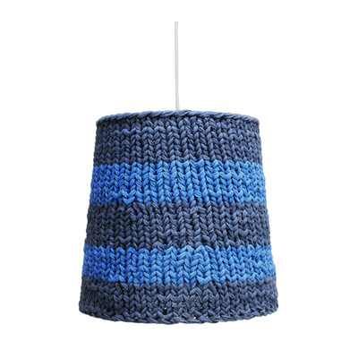 handknitted cotton lamp large blue lines (with wiring)