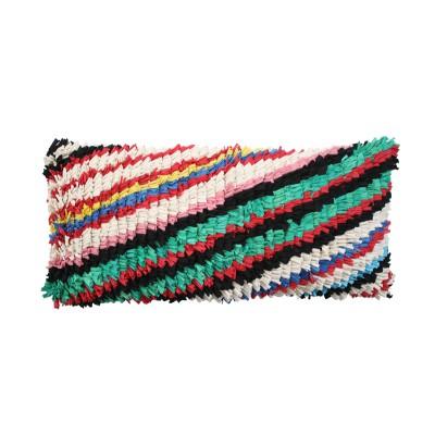 Cushion multi coloured lines; leather back
